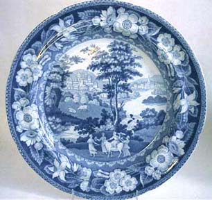 Staffordshire Blue Transferware Historical Romantic